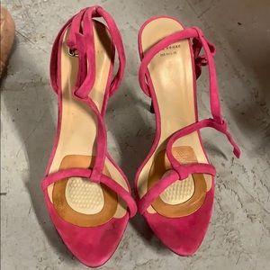 Platform pink suede t bar sandals